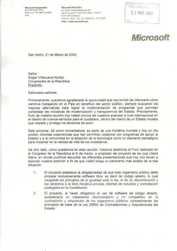 The Microsoft FUD letter to Peru – Microsoft Articles of Incorporation